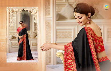 2ad64ec12c Black Colour Bollywood Style And Indian Ethik Wear Embroidery Designer  Georget Saree