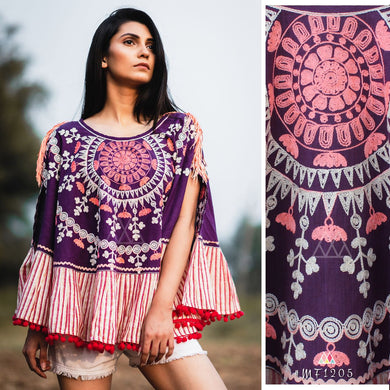 Pink Colour Khadi Poncho (western Wear)