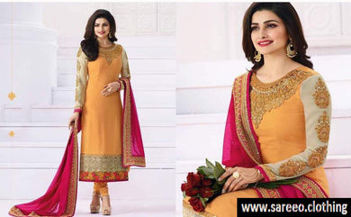 Yellow Heavy Embroideired Worked Georgette Straight Salwar Suit