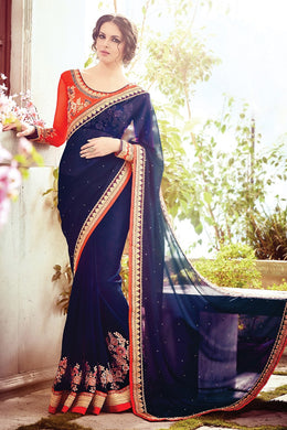 Multicolor  Trendy Bollywood Look Attractive Lattest Designer Saree With Blouse