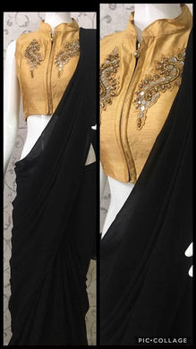 Black Colour Awesome Attractive Hot Lattest Designer Georgette Saree With Stitched Blouse