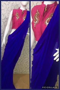 Blue Colour Awesome Attractive Hot Lattest Designer Georgette Saree With Stitched Blouse