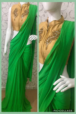 Green Colour Awesome Attractive Hot Lattest Designer Georgette Saree With Stitched Blouse