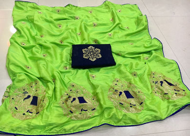 Awesome Parrot Green Elephant Design Embroidery Saree With Work Blouse