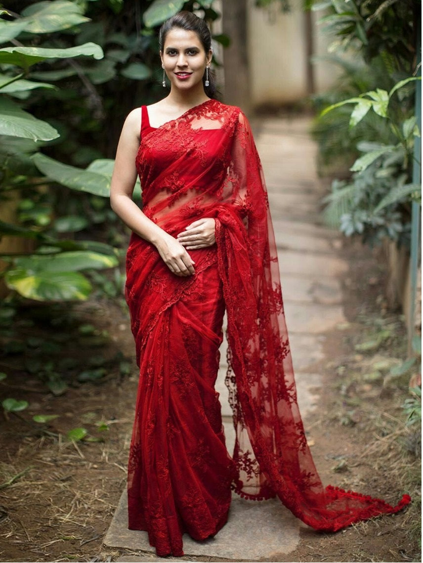cf58a27a51 Stylish Red Hot Naylon Net Embroidery Saree With Blouse – SAREEU™