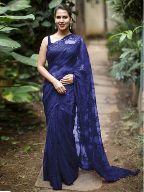 Indian Style Navyblue Embroidery Saree With Work Blouse