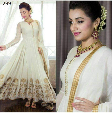 White Color Georgette Exclusive White Long Anarkali Suit Dress  Suit