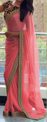 Buy Latest & Exclusive Attractive Designer Gajri Sequance And Thread Work Georgette Partywear Saree