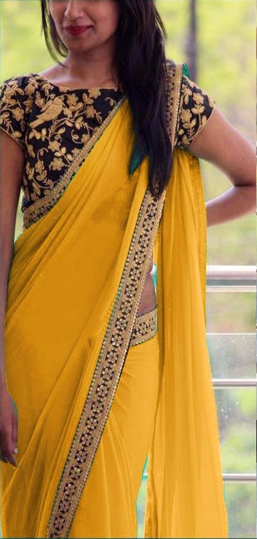 b40ef34d9323d7 ... Buy Amazing Attractive Designer Yellow Sequance And Thread Work  Georgette Partywear Saree With Blous ...