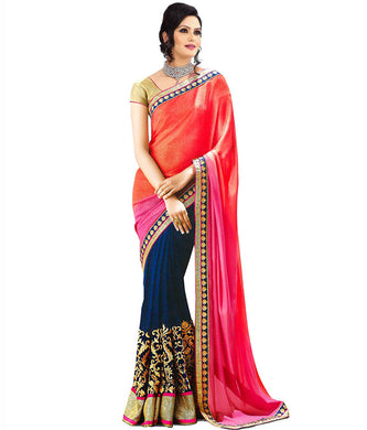 Blue Gorgeous Embroidered Georget Lace Border Ragini Saree