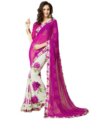 Arrival Dark Pink And Off White Georgette Saree
