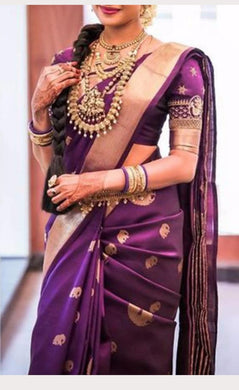 Attractive Purple Color New Trendy Latest Soft And Smooth Golden Zari Digital Print Saree