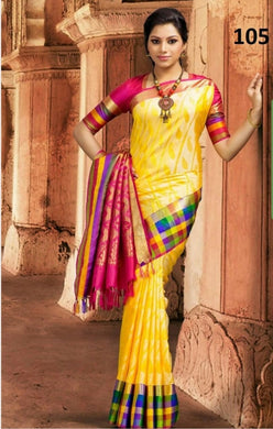Attractive Multicolor New Trendy Latest Soft And Smooth Golden Zari Digital Print Saree
