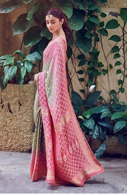 Aliya Bhatt New Festival Indian Multicolor Heavy Soft And Smooth Golden Zari Digital Print Saree
