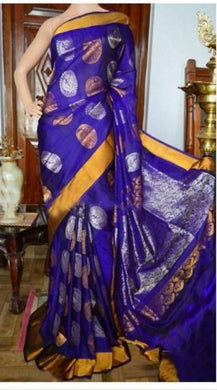 Attractive Blue  Color New Trendy Latest Soft And Smooth Golden Zari Digital Print Saree