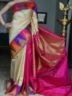 Awesome Multi Digital Printed Golden Zari Sillk Designer Saree With Blouse