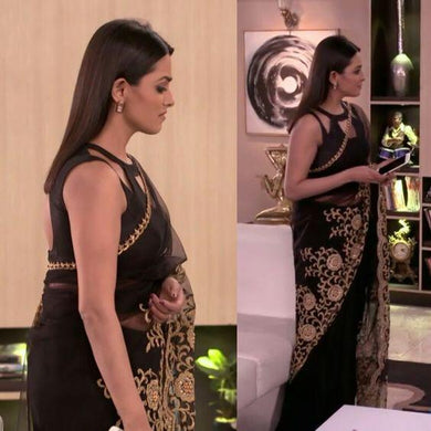 Black Color Net Bollywood Designer Collection Saree With Embroidery