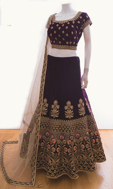 Beutique Wine Velvet Full Heavy Embroidery Lehenga Choli With Dupatta With 4pc Latkan