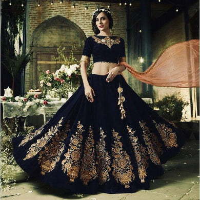 Black Color New Fancy Embroidery Lehenga Choli With Dupatta