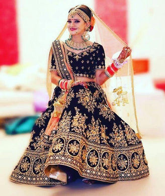 Black Color Velvet New Bridal Embroidery Lehenga Choli With Dupatta