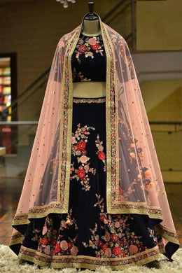 Designer Bridal Wear And Party Wear Black Color Embroidery Work Lahenga Choli