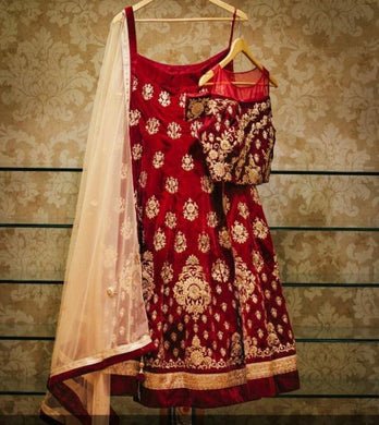 Buetique New Collection Red Velvet Embroidery Lehenga Choli Set With Dupatta