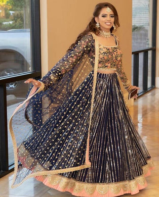 Awesome Designer Blue Colour Net With Embroidery+ Sequence Work Lehenga