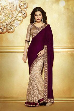 Awesome Designer Maroon Color Velvet With Rasal Net Saree