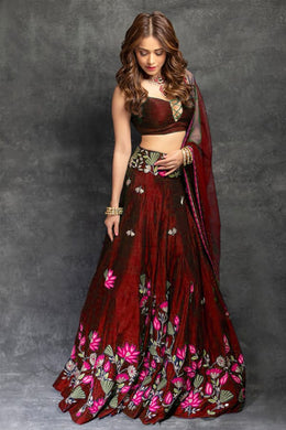 Festival Wedding Red Color Taffeta Silk Embroidered Lehenga Choli