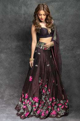 Festival Wedding Coffee Color Taffeta Silk Embroidered Lehenga Choli