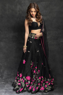 Festival Wedding Black Color Taffeta Silk Embroidered Lehenga Choli
