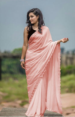 Awesome Faux Designer Peach Colour Silk Saree