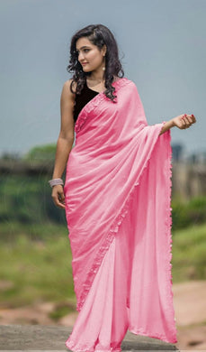 Awesome Faux Designer Pink Colour Silk Saree