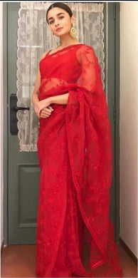 Alia Bhatt Designer Red Color Tissue Net With Embroidery Work Saree With Blouse