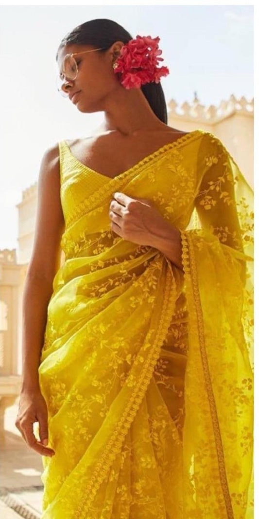 Designer Tissue Net With Embroidery Work Saree With Blouse