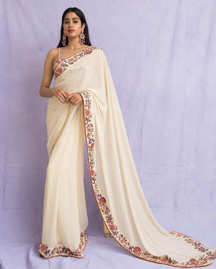 Beutique Collection White Color Geortgette Embroidery Less Border Work Saree