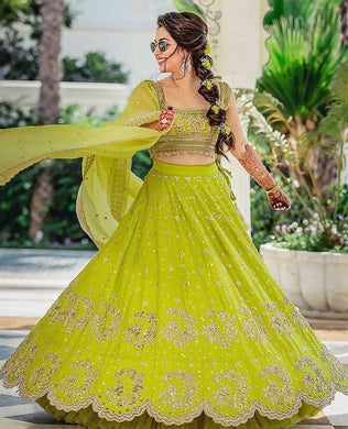 Wedding Designer Bride Georgette Parrot Color Lahenga