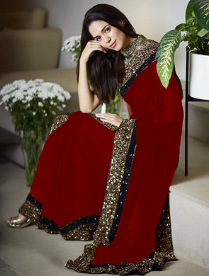 Awesome Designer Red 60gm Georgeete Silk Sequnce Work Saree