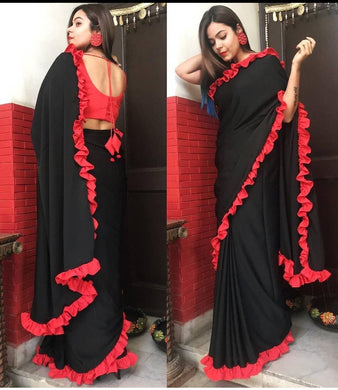 Awesome Looks New Bollywood Designer Ruffle Saree