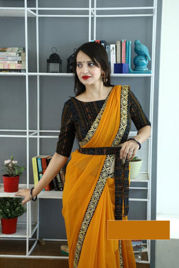 Awesome Yellow Color Georgette Embroidery Designer Saree With Blouse