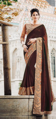 Amazing Brown Ginni Silk Embroidery Work Saree With Blouse
