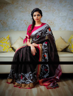 Exclusive Black Color Printed Zarna Silk Saree With Blouse