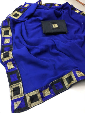 Beautiful Blue Color Marbel Chiffon Saree With Work Blouse