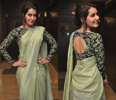 Trendy Bollywood Pista Color Sana Silk Saree With Blouse