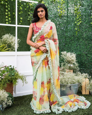 Attractive Light Green Georgette Ruffle Printed Saree With Blouse
