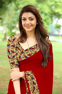 Kajal Aggarwal Maroon Color Chanderi Silk Saree With Blouse And Necklace