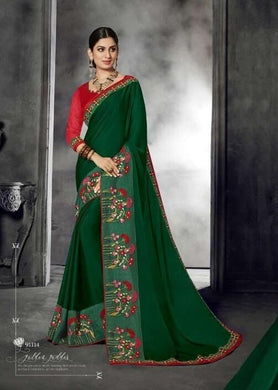 Beautiful Designer Green Color Embroidery Georgette Saree With Blouse