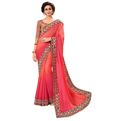 Designer Pink Color Georgette Mirror Work Saree With Blouse