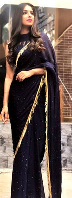 Exclusive Black Color Georgette Hand Work Saree With Blouse
