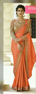 Awesome Peach Color Rangoli Silk Saree With Embroidery Work Blouse